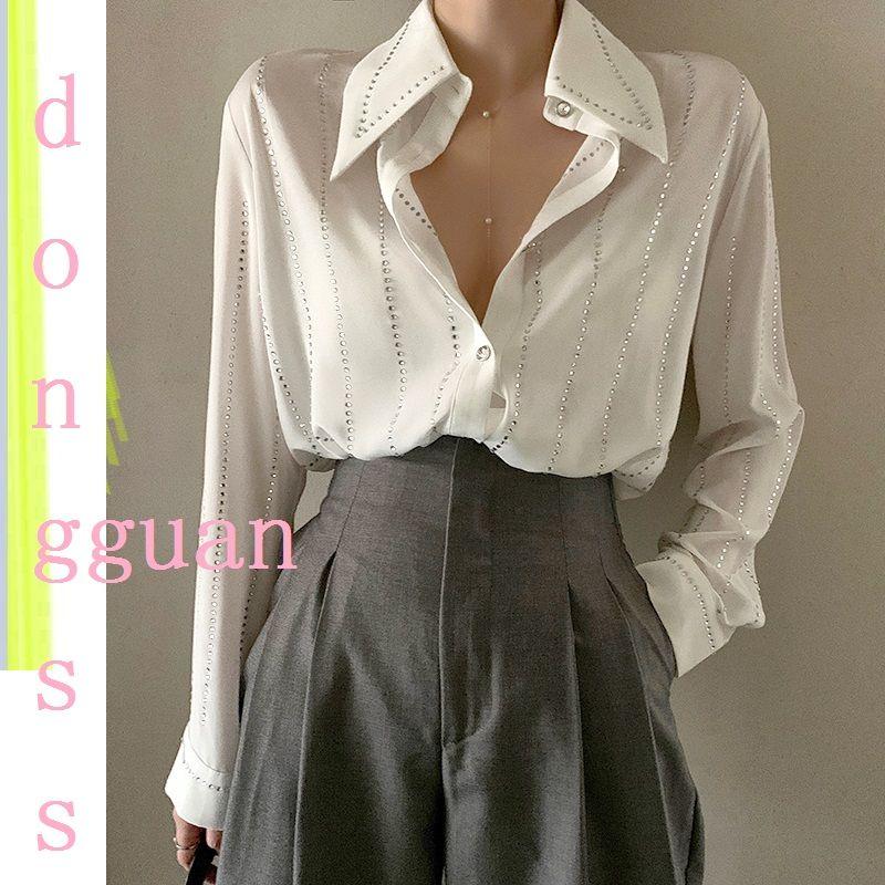 세련된 블링 화이트 쉬폰 셔츠 여성 긴 소매 솔리드 화이트 사무실 블라우스 탑스와 블라우스 Blusas