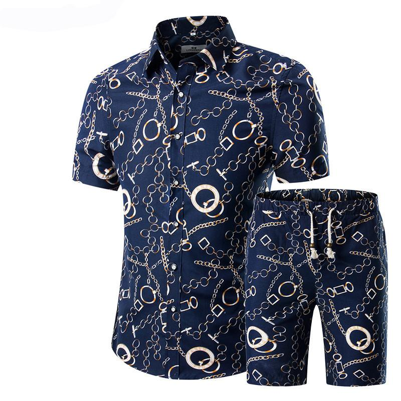 2020 florales de moda de verano de impresión camisas de los hombres + los cortocircuitos de los hombres de la manga corta Casual sistemas de la ropa chándal más el tamaño 5XL