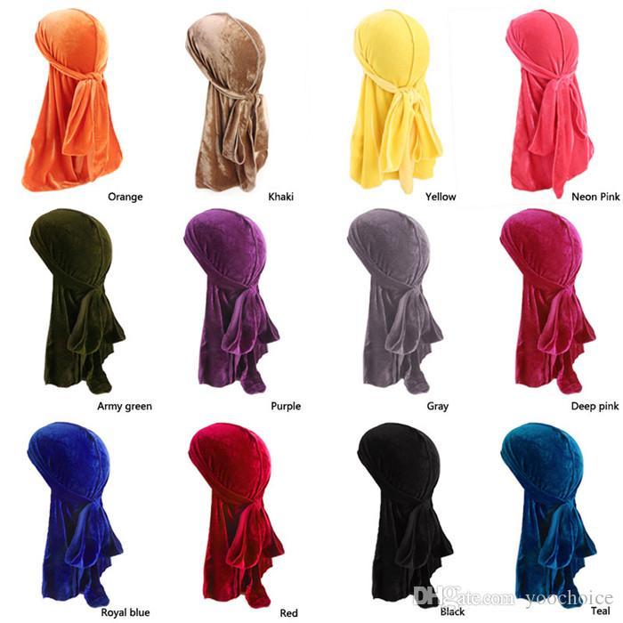 Мужчины Женщины Hat Золото Velvet Hat Мода Держите Теплый дышащий Бандана Hat Бархат Durag длинный хвост 10шт тюрбан для укладки волос инструмента