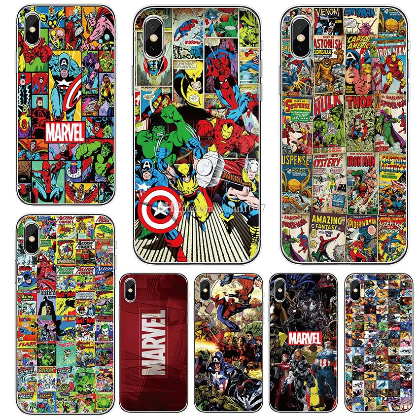 Case For iPhone 8 7 6 6S plus x xs max xr 5 5s se Comic Marvel Silicone Cover Case Luxury Ultra Thin Soft TPU Mobile Phone bag