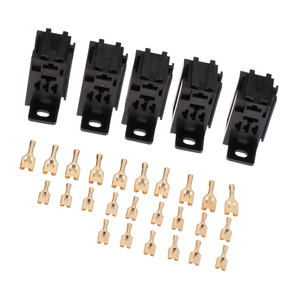 5 Pieces 5Pin 60A PCB Relay Holder Board Mount Socket with Terminals Black