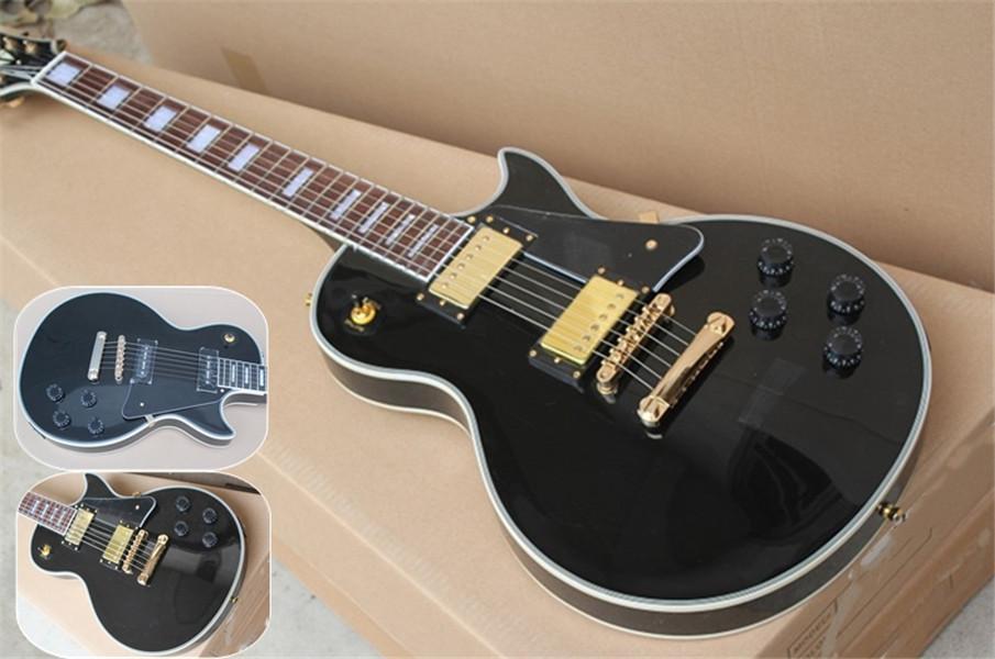 Ücretsiz Kargo Fabrika Standart Siyah Gitar, Altın Donanım, Siyah Paket Teklif, Maun Vücut, Gülağacı Klavye, P90 Pickups
