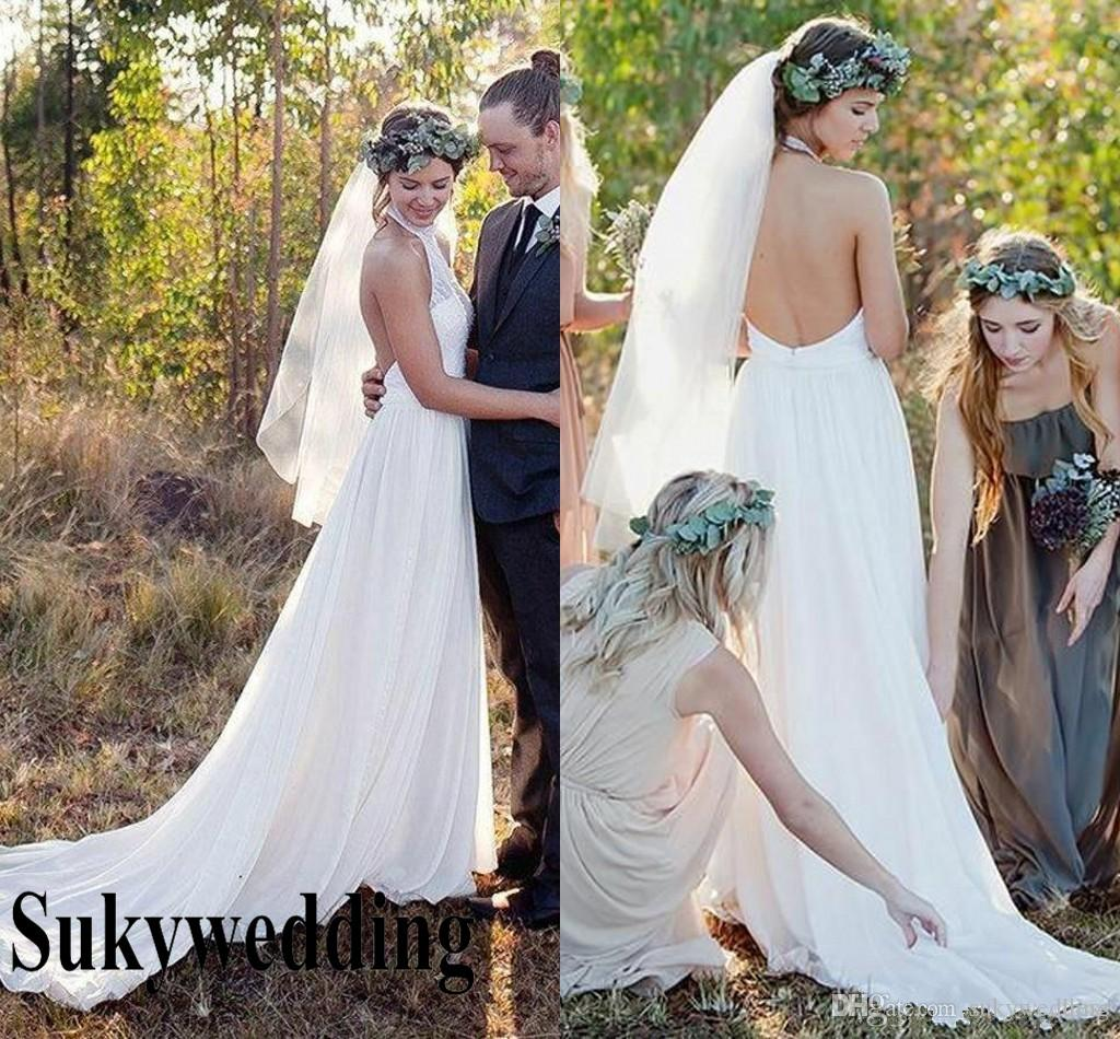 2019 Cheap Bohemian Backless abiti da sposa capestro Plus Size Lace Chiffon Boho Garden Country Beach Abiti da sposa robe de mariée sweep treno