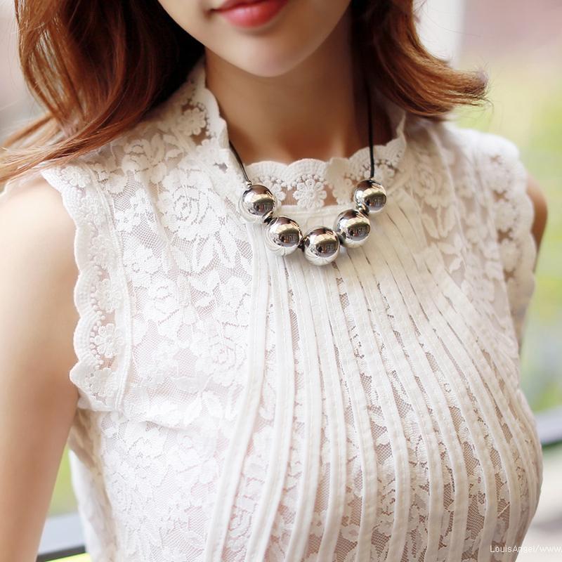Mulheres Office Lady Lace Verão mangas Outono Blusa branca Femme desgaste do trabalho Fique Collar Tops Blusas Verano Mujer 2020 Y200622