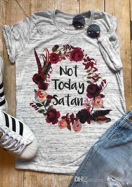 Plus la taille des femmes T-shirt à manches courtes Pas aujourd'hui Satan Floral T-Shirt été Casual femme t-shirt Gris Tops Femmes Tee 2XL