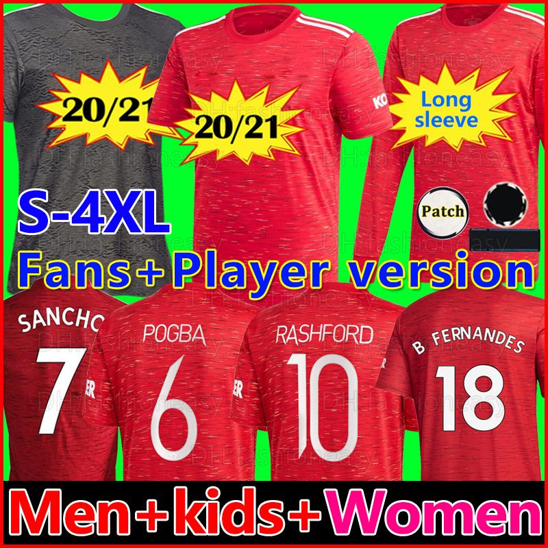 Player Version RASHFORD FERNANDES 20 21 manchester soccer united jersey GREENWOOD SANCHO utd 4XL 2020 2021 football kit shirt men kids sets
