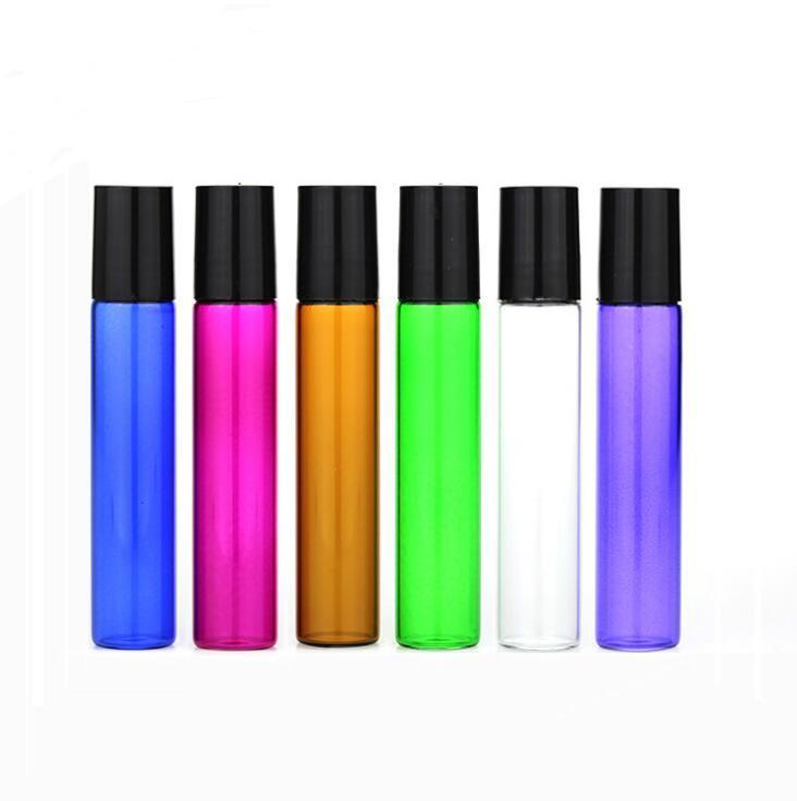 10ml vazio vidro Roll On Blue Bottle Red Verde Âmbar claro rolo Container 1/3 onça Para óleo essencial, aromaterapia, perfumes e Lip Balms