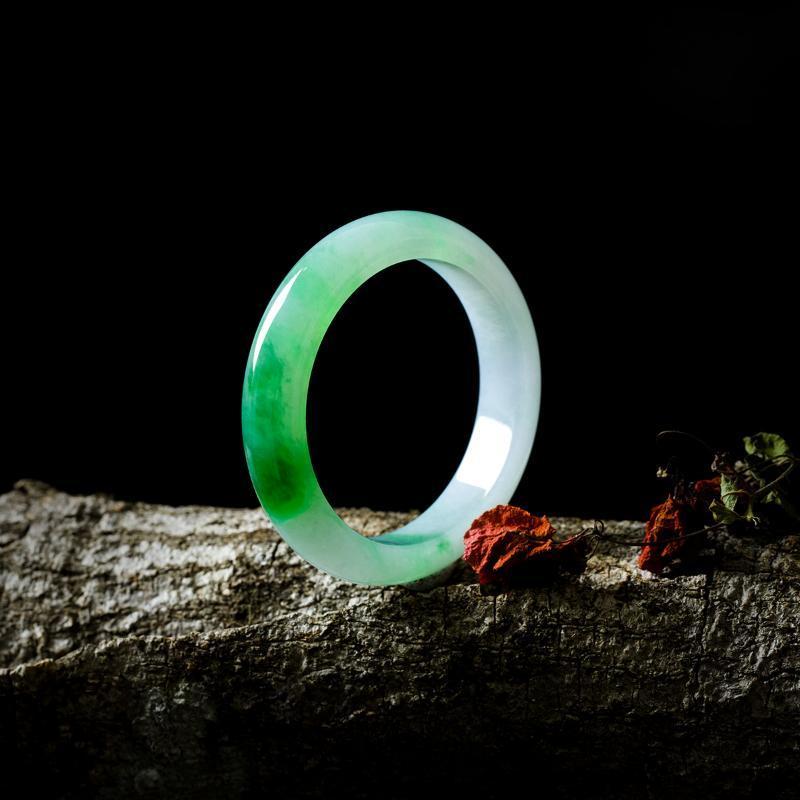 El mejor regalo natural birmano jadeíta 54mm-62mm pulsera de dos colores elegante princesa jade pulsera para madre y girlfrie