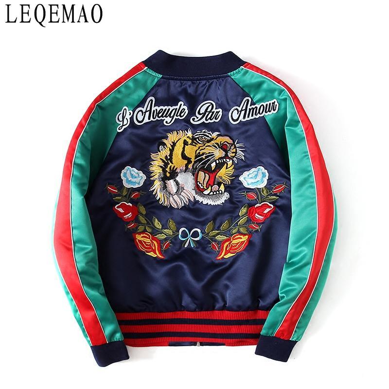 jaqueta bordada com primavera e outono letras tigre na moda casacos para homens e mulheres terno flácido baseball
