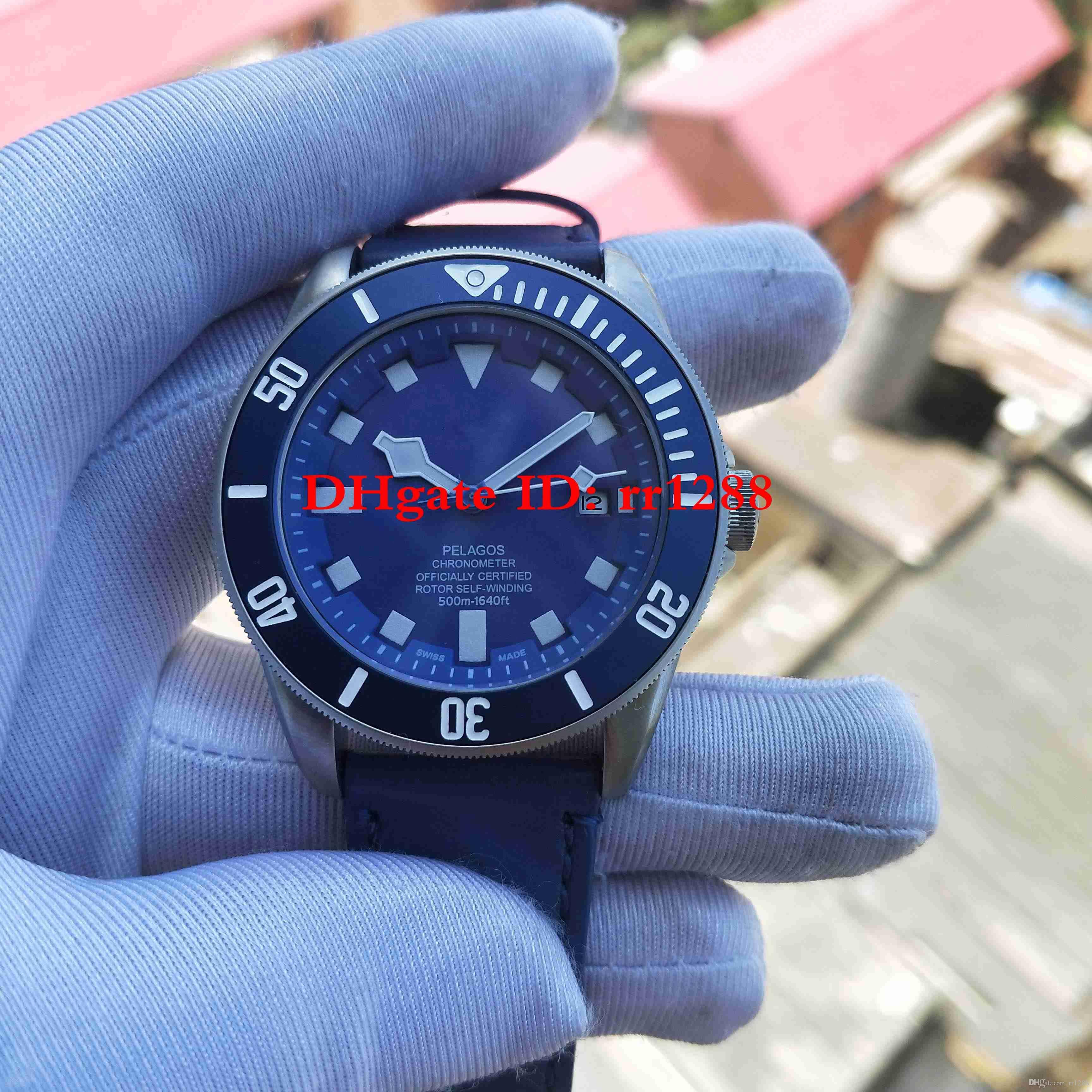 Yüksek Kalite İzle 25600TN 79230B 25600 TB GENEL Saatler Otomatik hareketi Deri kayış Mavi dial Takvim Erkek Saatler Saatı