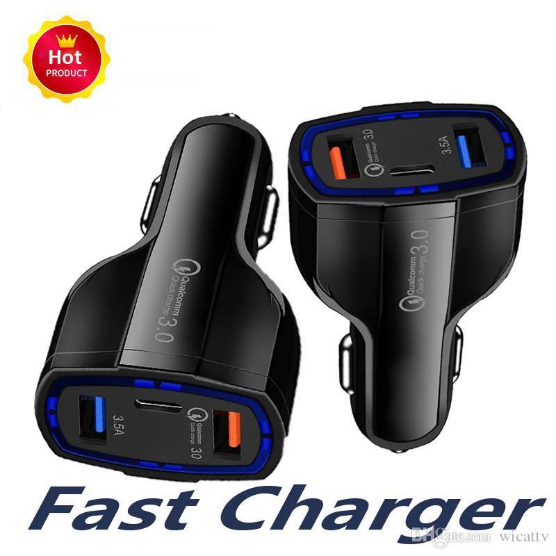 Carga rápida QC 3.0 Rápido Tipo C USB cargador de coche USB coche del teléfono celular móvil del cargador de iPhone Para Samgsung 11 X GPS del teléfono androide