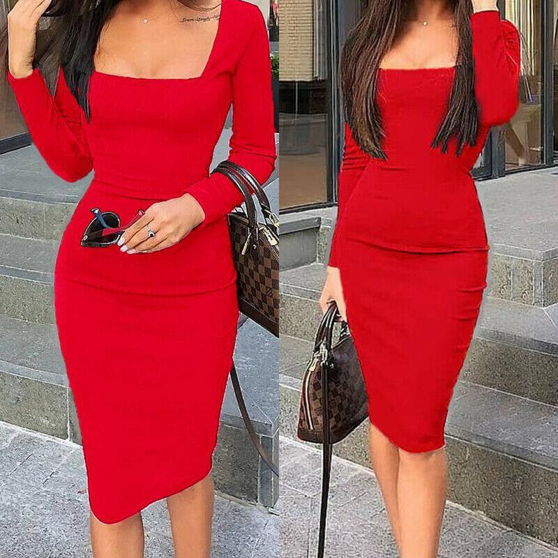 Элегантные платья женщины с длинным рукавом Bodycon Dress дамы осень повседневное платье партия Рождество теплый хлопок зимнее платье горячая