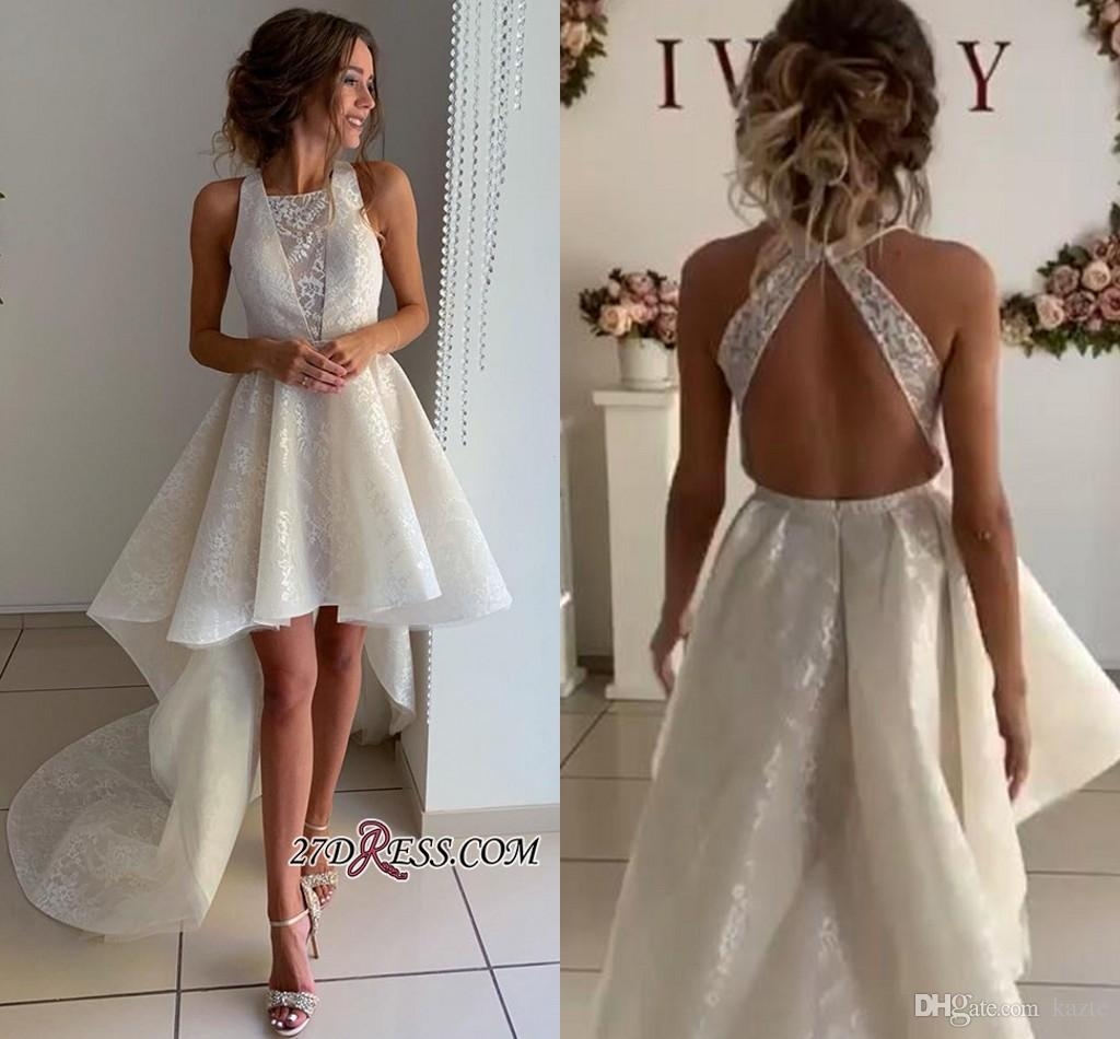Discount High Low Beach Wedding Dresses 2020 High Neck Backless Lace  Organza Summer Holiday Country Short Bride Wedding Gown Wedding Dresses For  Bride