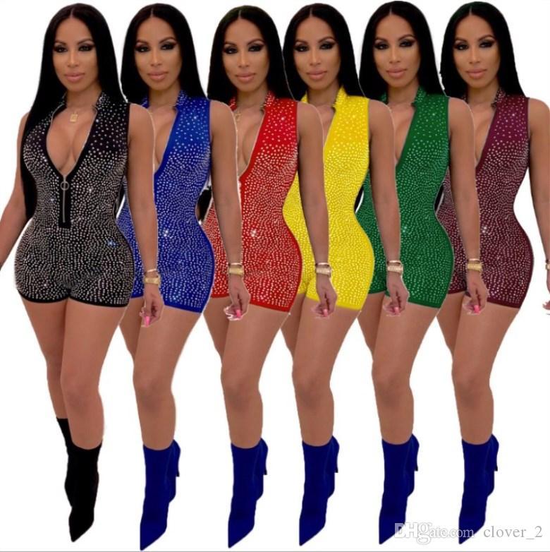Женские дизайнерские комбинезоны Bodycon с короткими брюками комбинезон тощий комбинезон горячие продажи женской одежды комбинезоны на молнии klw1529