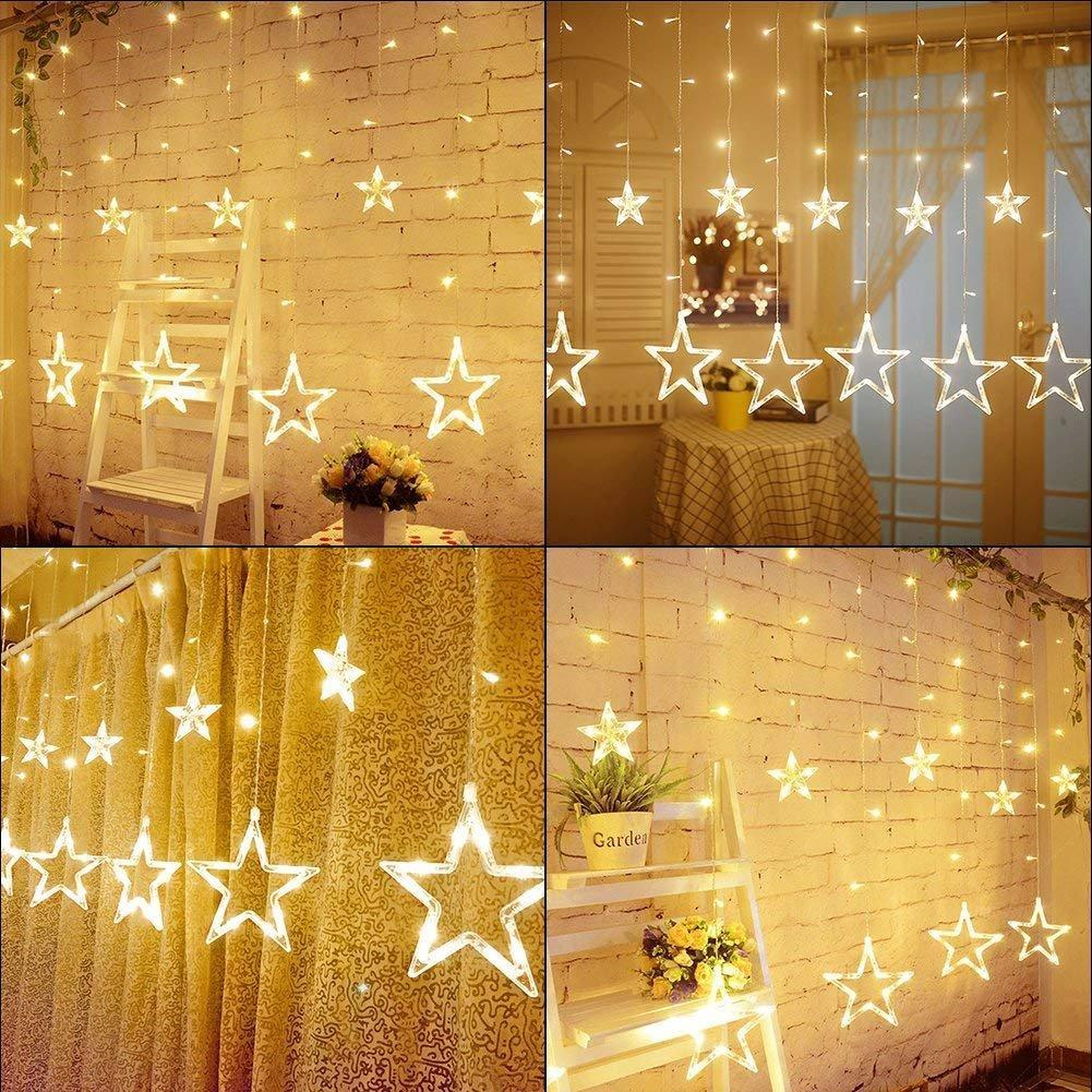 Twinkle Star 12 Stars 138 LED Curtain String Lights, Window Curtain Lights with 8 Flashing Modes Decoration for Christmas, Wedding, Party,