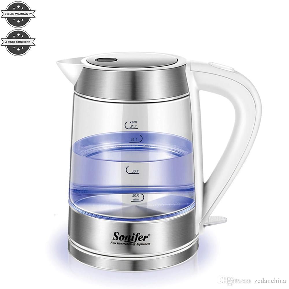 CKV-30 1.7L Colorful Electric Kettle Glass Transparent 2200W Household Quick Heating Electric Boiling Pot Sonifer