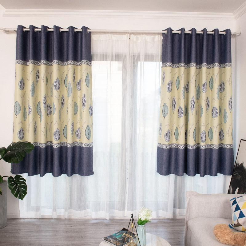Dark Blue Leaves Print Curtains Short Blackout Curtains for Living Room Bedroom Home Decor Luxury Drapes BS