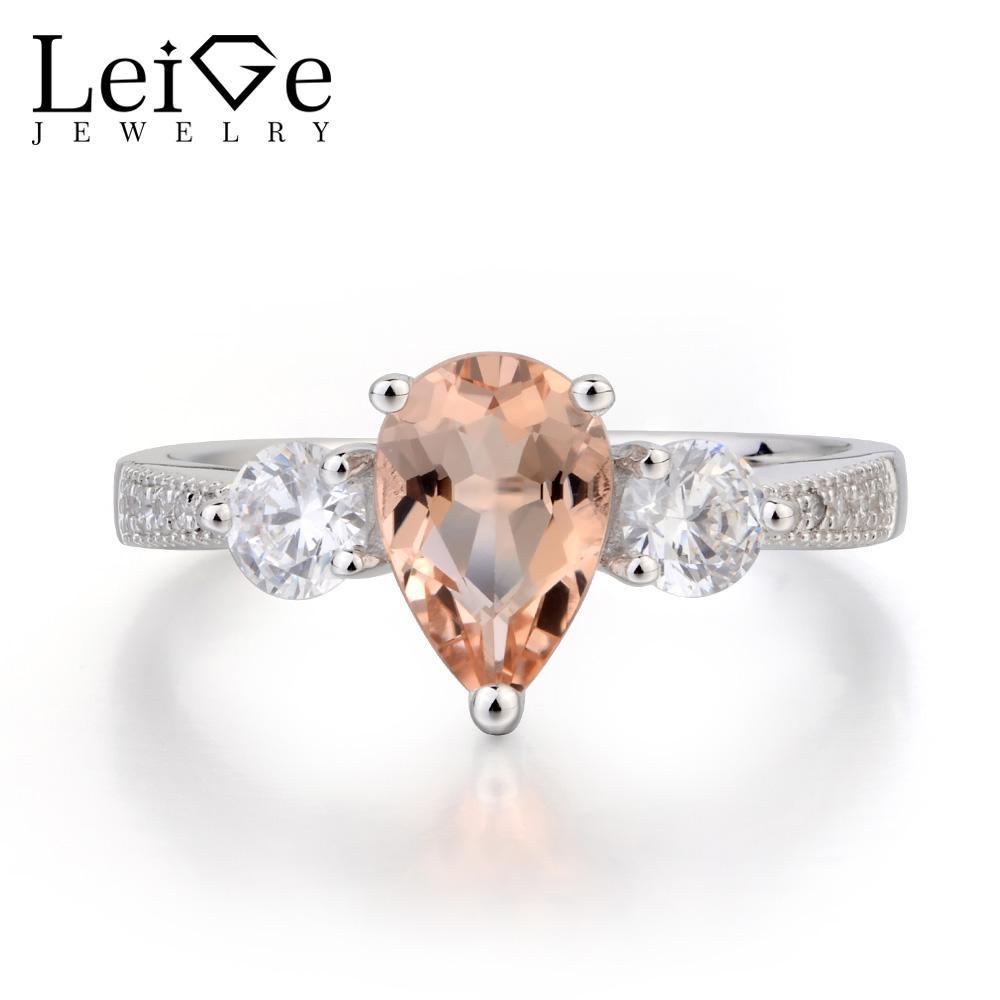 Leige Schmuck Natürliches Rosa Morganit Ring Ehering Birnen-Schnitt-Rosa-Edelstein 925 Sterlingsilber-romantische Geschenke für Frauen