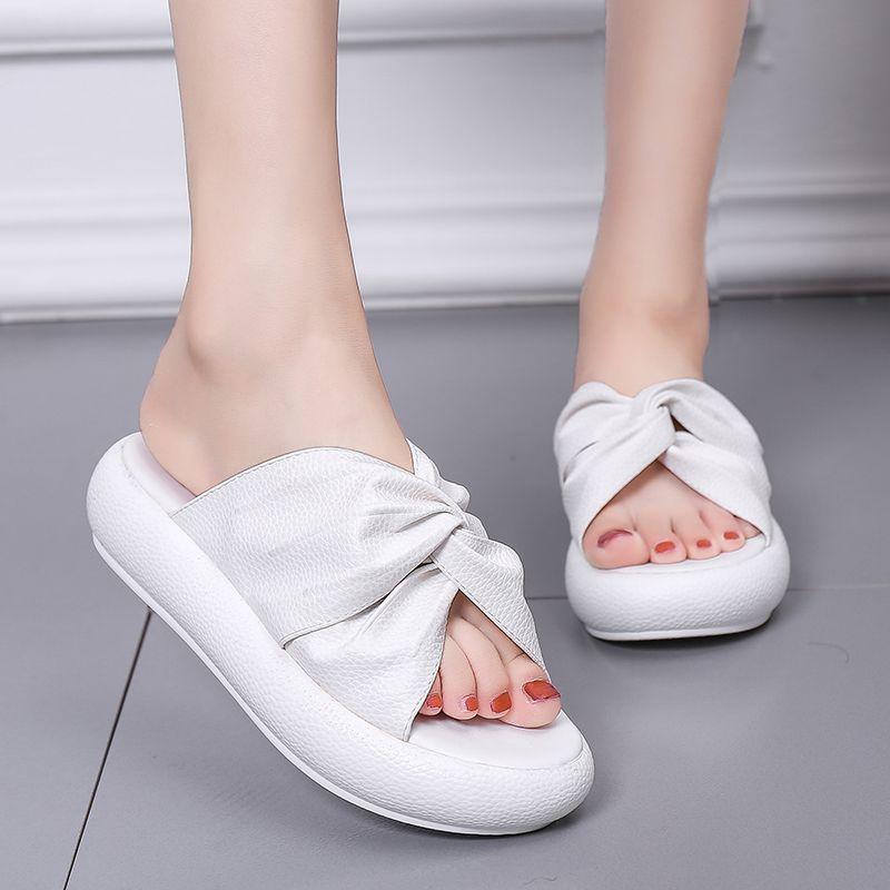 Hee grande plataforma plana desliza mulheres chinelos deslizamento em trepadeiras sapatos de verão mulher sólida fundo macio senhoras flip flops xwt1828