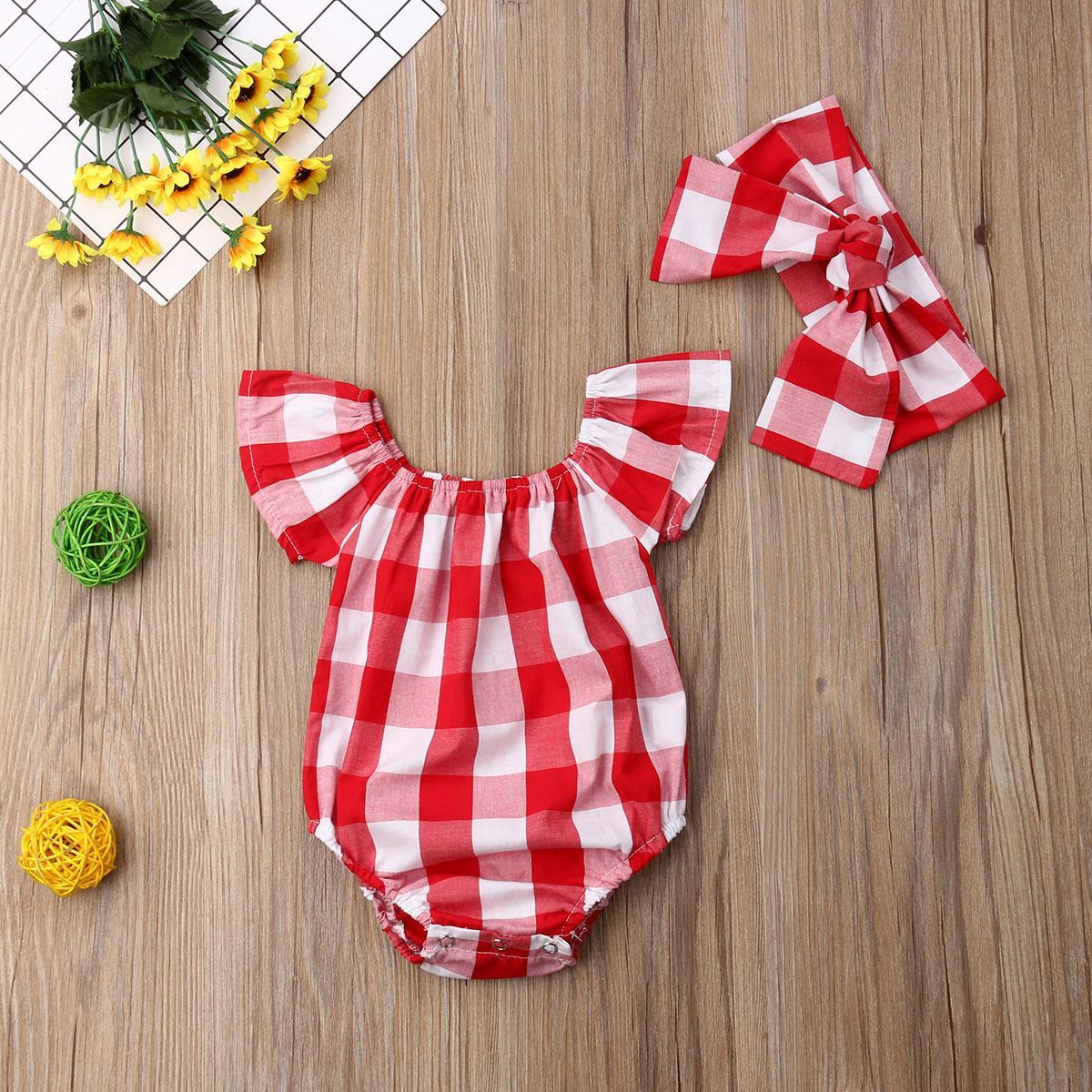 2019 лето Симпатичные малышей ребёнков плед комбинезон короткими рукавами комбинезон женский пляжный костюм техники Красные одежды