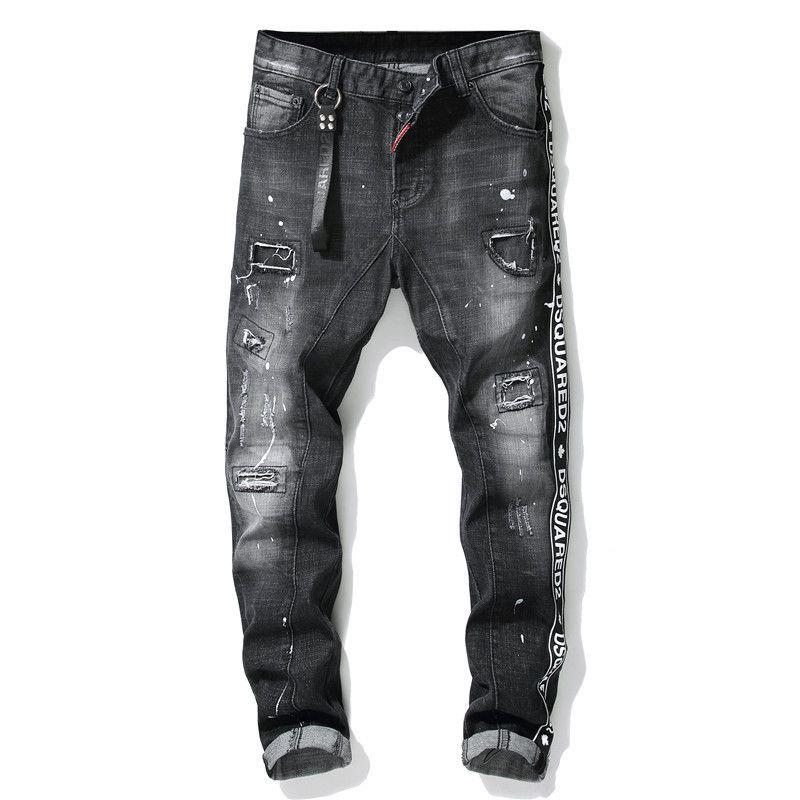 2020 Mens Знак Разрывы Stretch Black Jeans Модельер Slim Fit Омывается Motocycle джинсовых брюк Hip HOP панелей Брюки