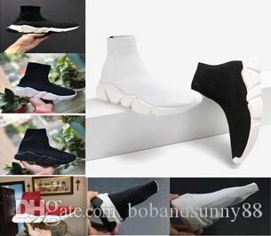 2019 Designer Sock Shoes Triple S Sneakers Speed Trainers Flat Fashion Women Men Black Red Casual Socks Zapatillas Shoe