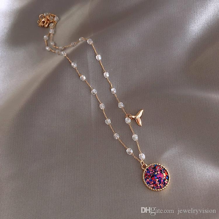 S1162 حار الأزياء والمجوهرات حورية البحر قلادة ابنة البحر سوبر الجنية المختنق قلادة كريستال الخرز قلادة قلادة