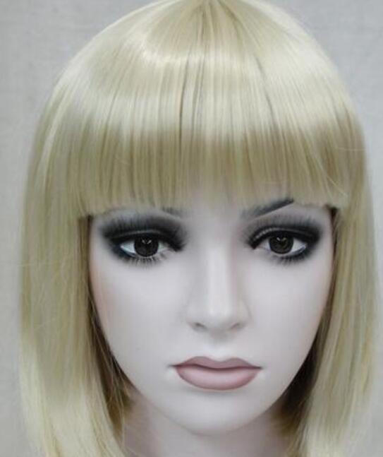 Парик устойчивы косплей партии волос TJFashion BOB Бледная блондинка Короткие прямые челки Женщины дамы повседневные волосы парик ETLD160 Hivision