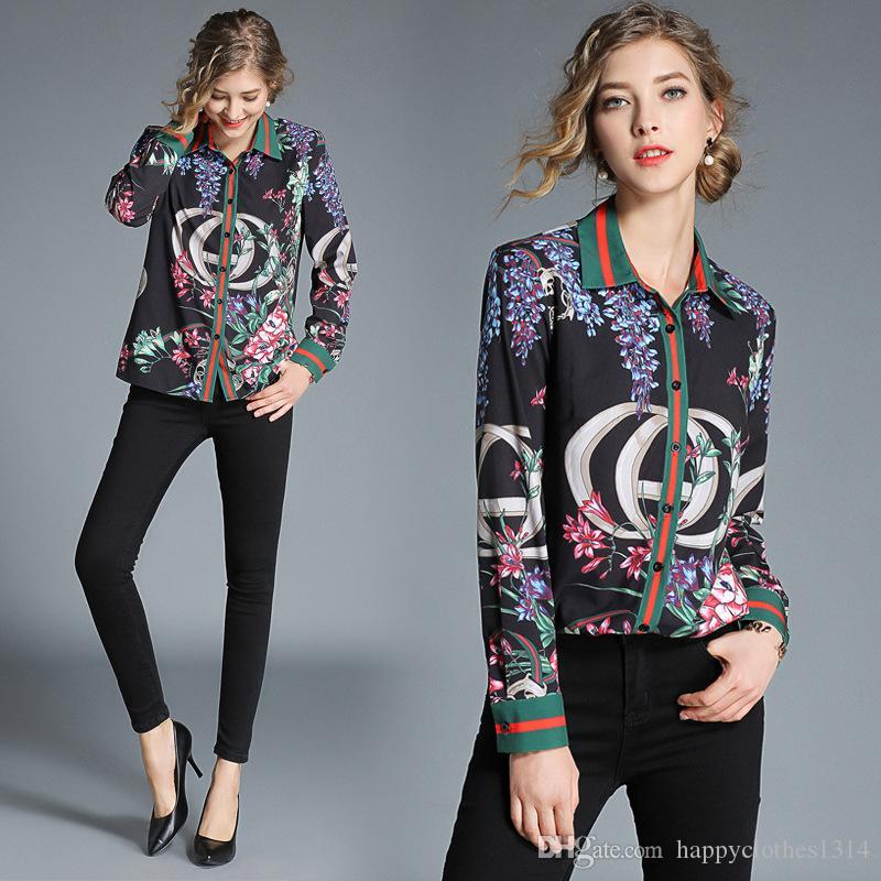 2020 새로운 활주로 인쇄 셔츠 디자이너 탑 플러스 사이즈 여성 패션 긴 소매 옷깃 목 숙 녀 블라우스 슬림 우아한 사무실 단추 셔츠