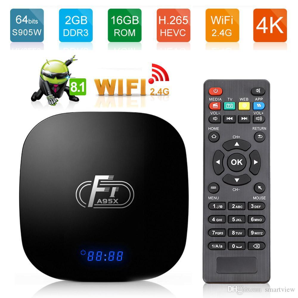 A95X F1 أندرويد 8.1 Amlogic S905W TV Box 2GB16GB Quad Core Suppot H. 265 4K 2.4 GHz WiFi VS X96 TX3 MINI