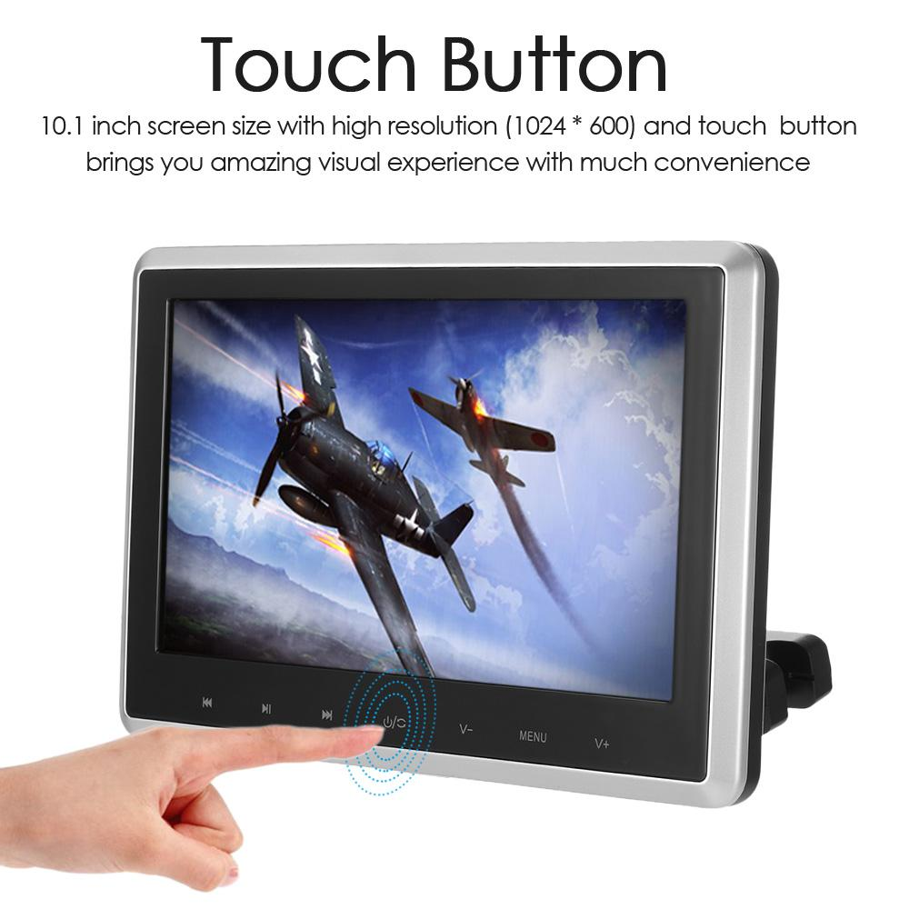Freeshipping 10.1 Inch TFT Digital LCD Screen Car Headrest DVD Player Touch Button Monitor with HD USB SD Port Remote Control