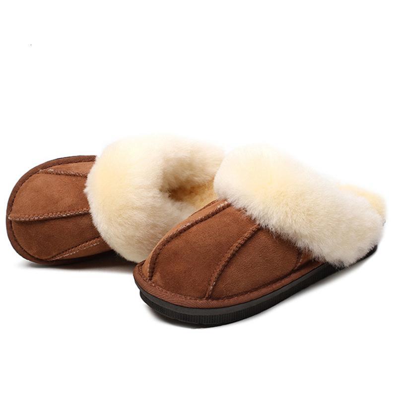 Les femmes hiver chaud en peau de mouton en laine fourrure Pantoufles femmes Chaussons Sheep Lovers Pantoufles Indoor Peluches Maison Chaussures Femme B24 CJ191205