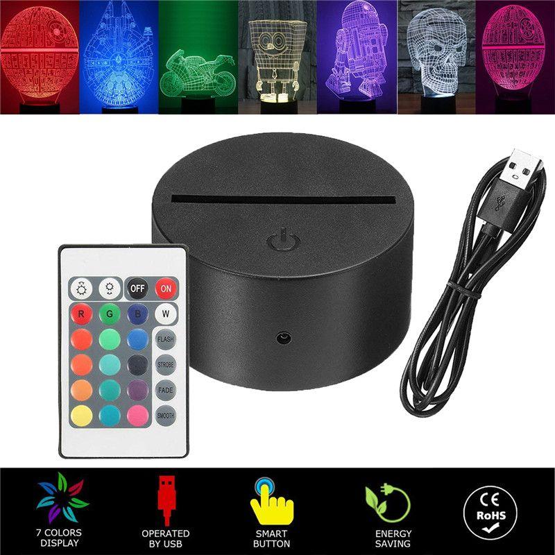 3D Lampe LED Night Light Base, LED Illusion 3D Night Lights, 7 couleurs Changement de bureau magasin de café vivant chambre chambre enfant