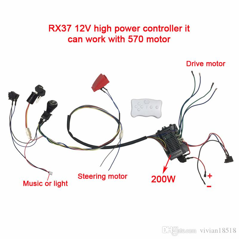 2019 Children Electric Car DIY Modified,Wires And Switch Kit With 2.4G on