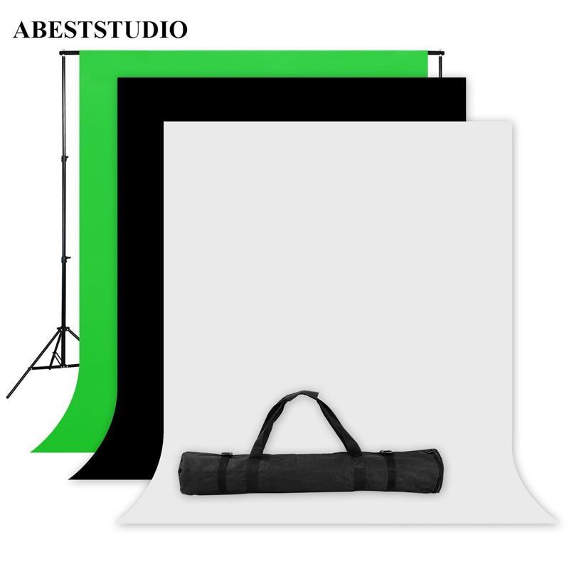 Freeshipping ABESTSTUDIO 사진 스튜디오 스크린 1.6x3m 검정 흰색 녹색 배경 스탠드 키트 1x2M * 2M 배경 스탠드 + 3x 배경 직물