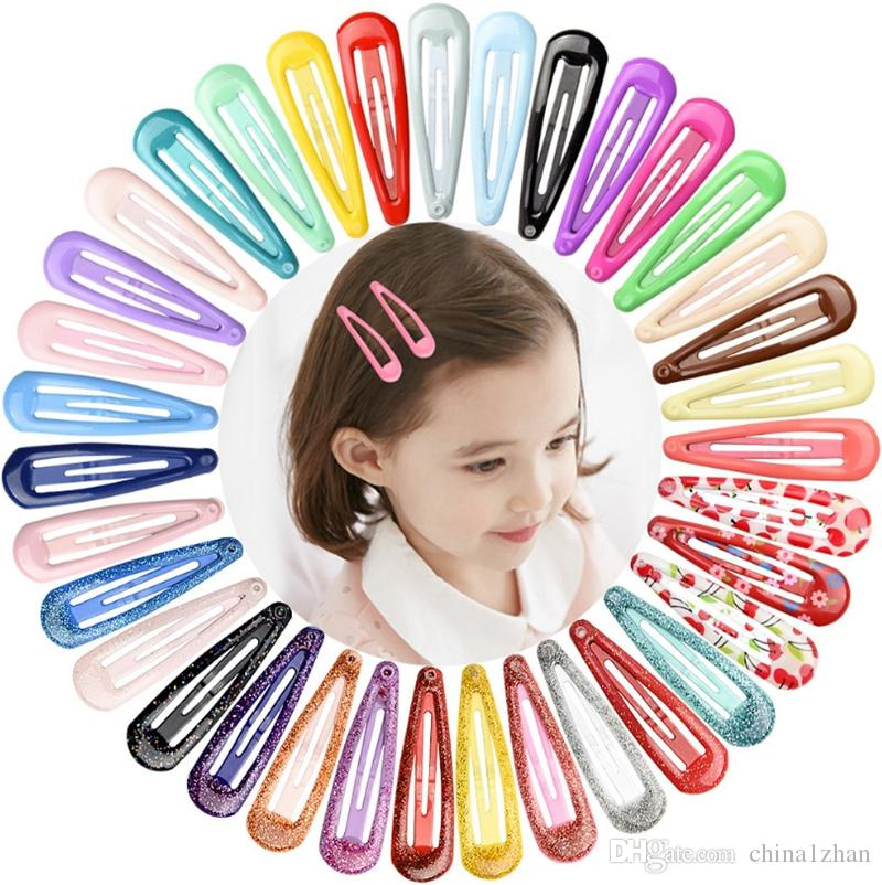 Snap Hair Clips Water Drop Hair Clip Pins BB Hairpins Hairgrip Macaron Color Metal Barrettes Girls Styling Hair Accessories 20 Color DHW3622