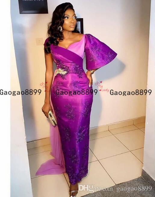 Aso Ebi арабский фиолетовый оболочка вечерние платья поэт короткие рукава кружева аппликации бисером платья выпускного вечера африканские длинные вечерние платья невесты