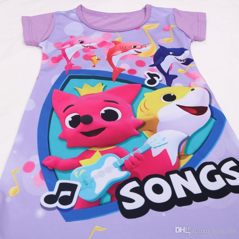 2b76bd1f4 ... 5 Style Girls baby shark night dress New Children lovely Cartoon shark  princess Party Dresses kids