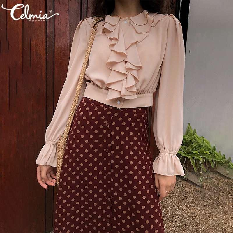 2020 Ruffled Mulheres Blusa Celmia Moda Chiffon Top elegante escritório Shirts O-Long pescoço alargamento SleeveCasual sólidos Botões Blusas