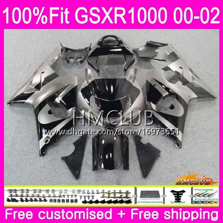 Einspritzung für SUZUKI GSX-R1000 GSXR 1000 GSXR1000 00 01 02 Karosserie 9HM.17 GSXR-1000 K2 00 01 02 GSX R1000 2000 2001 2002 Verkleidungsoberteil Grau schwarz