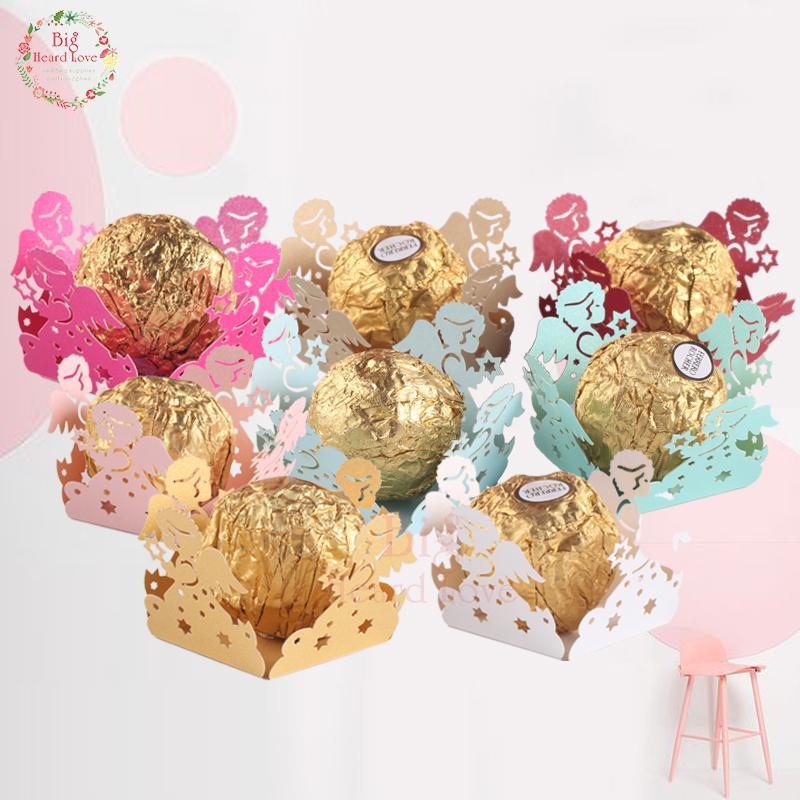 50pcs Laser Cut Ange Bar À Bonbons Baby Shower Party Chocolat Wrapper Fête D'anniversaire Bonbons Cadeau Boîte Enfants Baby Shower Décoration