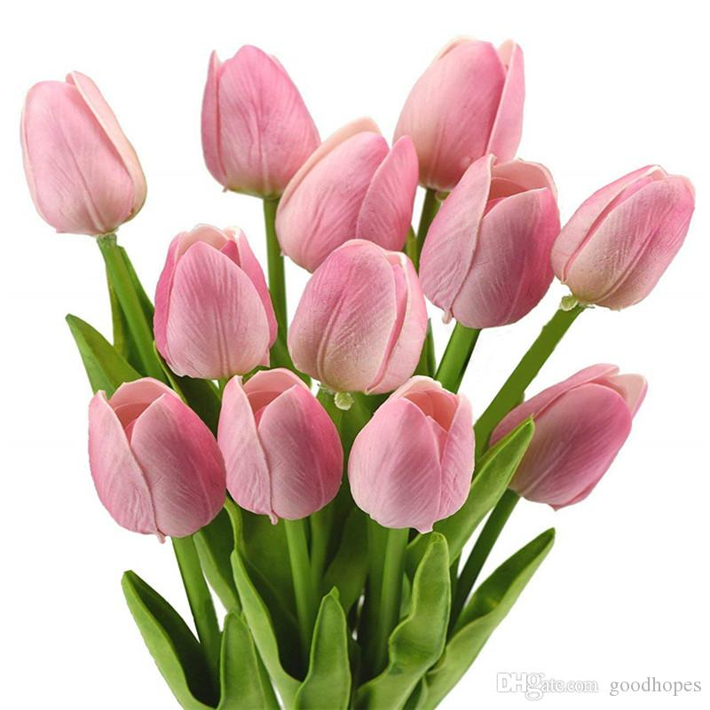 Fashion Tulips Artificial PU Flower Bouquet Wedding Flower for Wedding Birthday Party Home Hotel Christmas Decoration