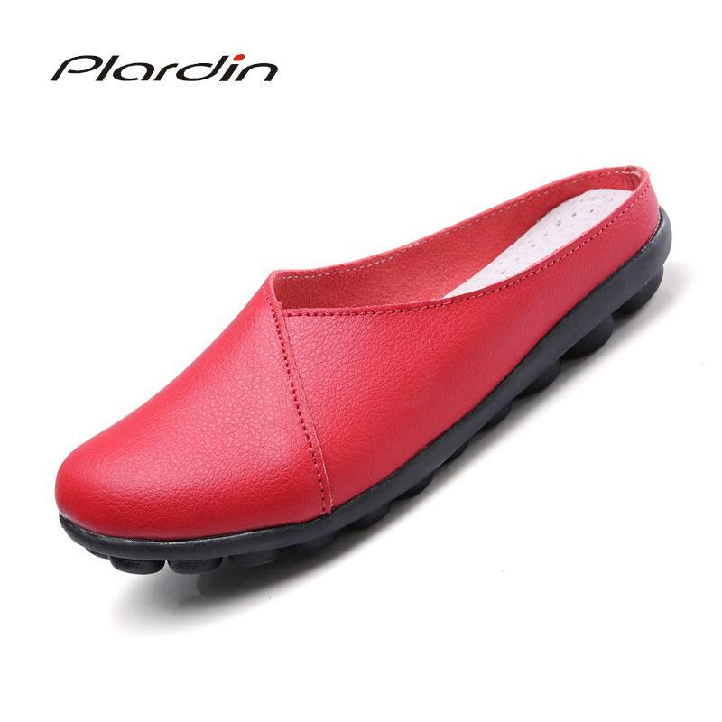 al por mayor de vaca Ballet muscular verano genuino de las mujeres zapatos de cuero mujer planas Nurse flexible guisantes blandos holgazán Pisos chanclas mujeres