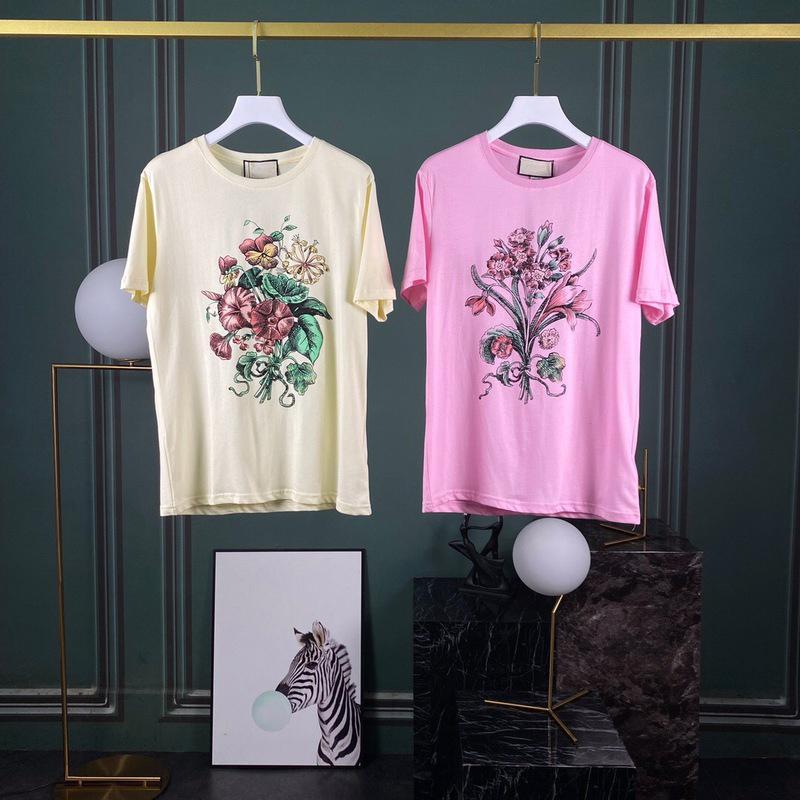 Italia Europa Flor de vacaciones de lujo 20ss de primavera y verano de impresión tee hombre del diseñador camisetas de manga corta de algodón mujeres camiseta