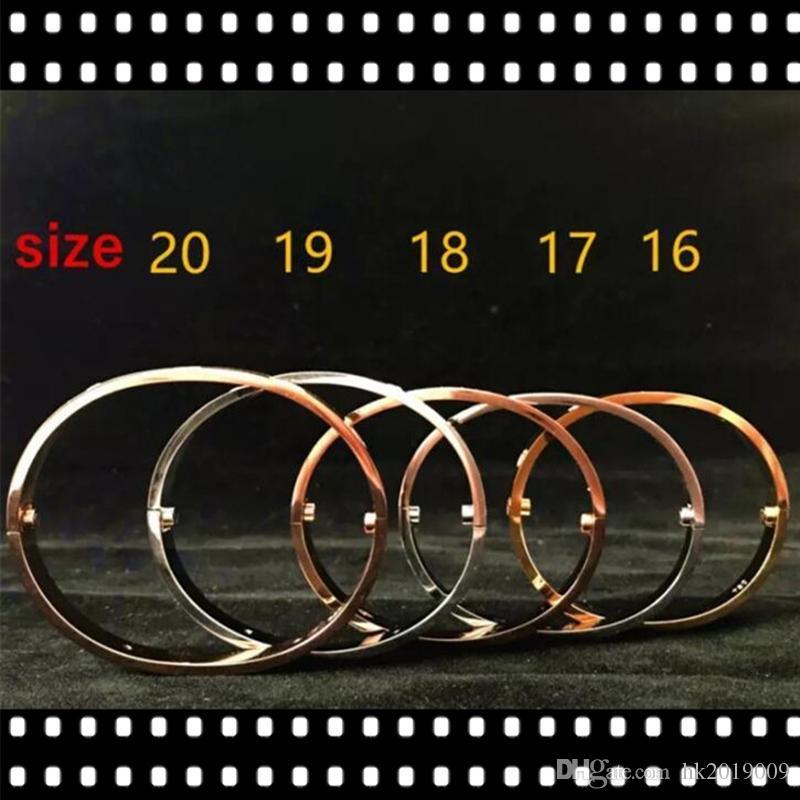 316L Paslanmaz Çelik Severlerin Bilezikler Kuyumculuk'un vida Bileklik Bileklik Boyut orijinal çanta ile 17 20 Erkekler Kadınlar Tornavida Bilezikler Bilezik