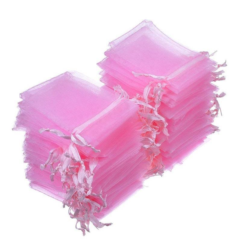 100pcs 7x9 9x12 10x15 13x18cm Rosa Organza Bags imballaggio gioielli Borse decorazione della festa nuziale Drawable sacchetti regalo Sacchetti 55