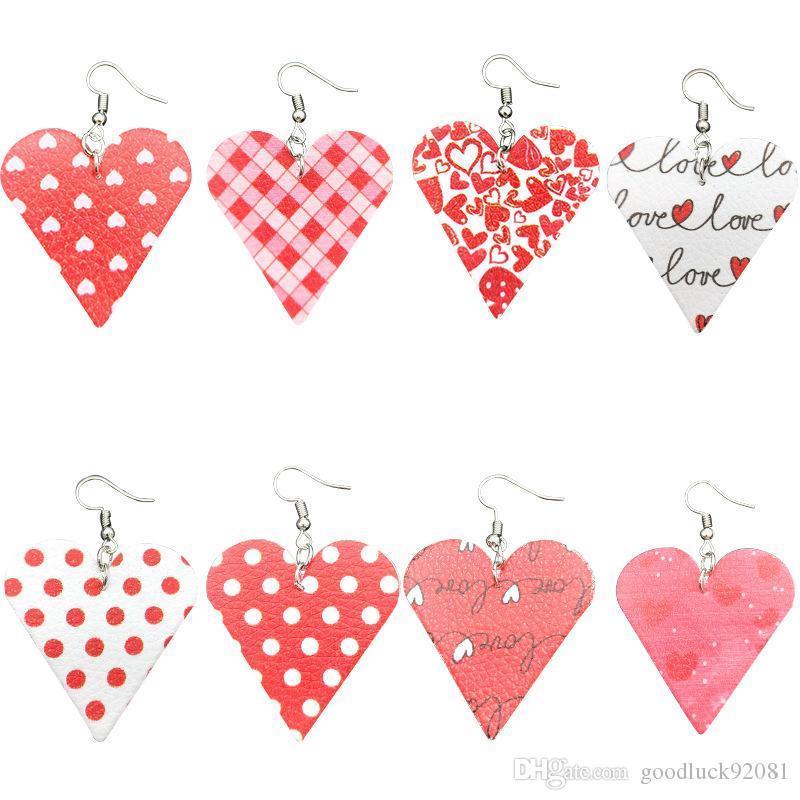 Orecchini di cuoio nuovo cuore per le donne ragazze Leggero Moda Teardrop ciondola gli orecchini insieme dei monili Lady Regali San Valentino