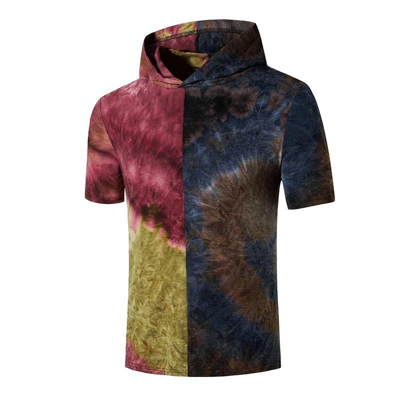 موضة التعادل صبغ البلوز القميص الرجال 2020 الصيف كم قصير مقنع تي شيرت الرجال التي شيرت الهيب هوب الشارع الشهير ذكر Camisetas هومبر