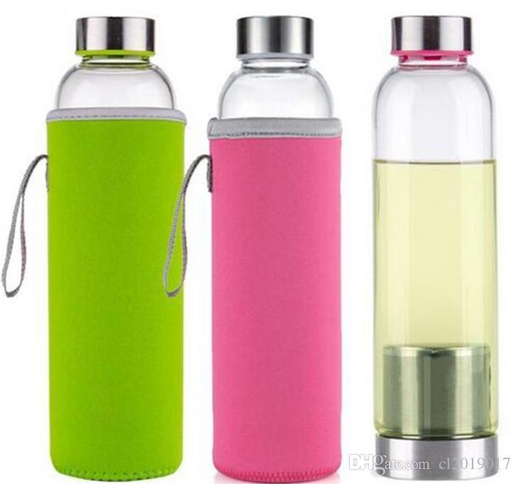 22 ozglas wasserflasche bpa freie hochtemperaturbeständige glas sport wasserflasche mit tee filter infuser flasche nylon sleeve