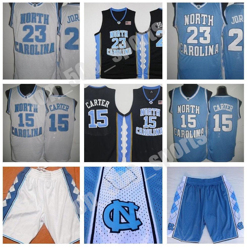 빈스 카터 UNC 저지, 노스 캐롤라이나 # 15 빈스 카터 블루 화이트 스티치 NCAA 대학 농구 유니폼, 자수 반바지